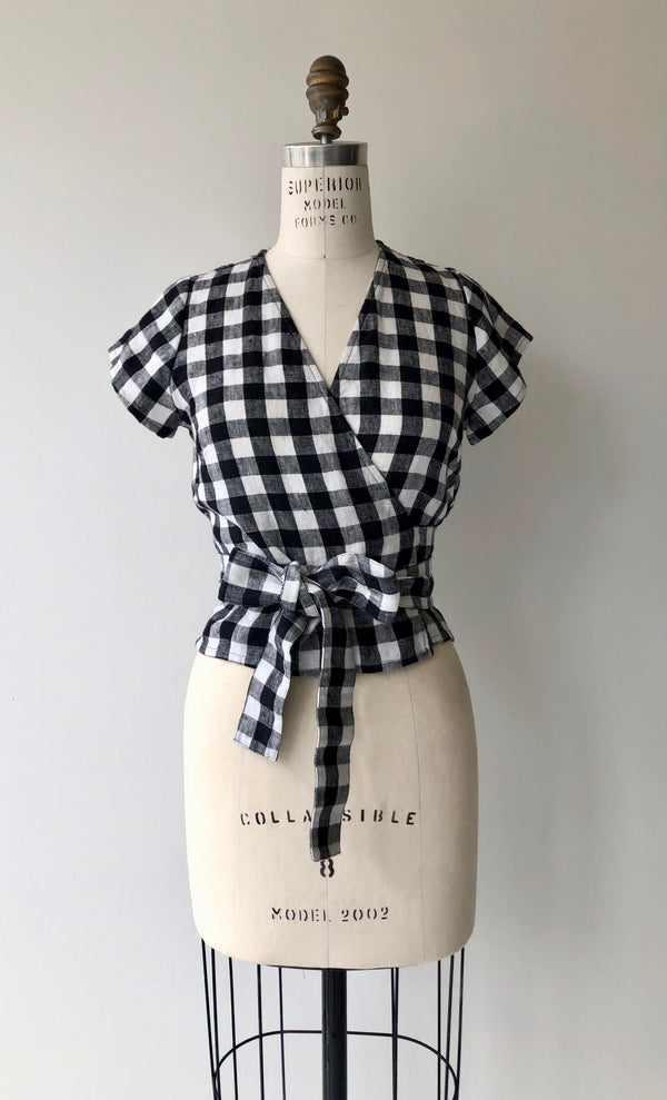 Gingham Linen Wrap Top
