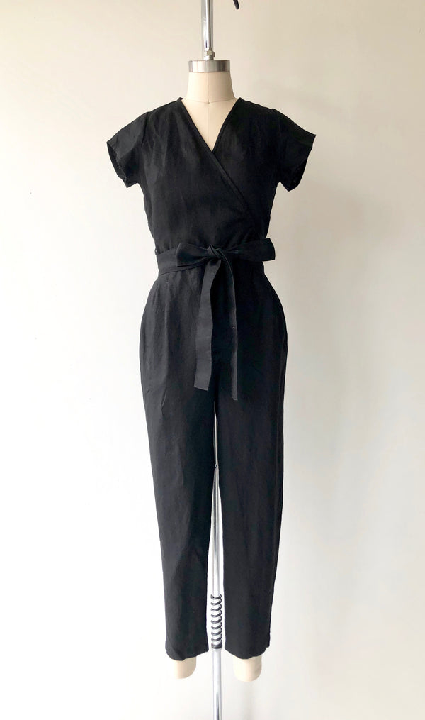 Black Linen Wrap Jumpsuit | Short Sleeve