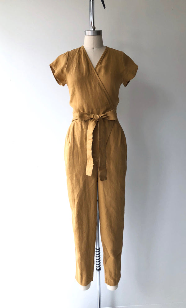 Amber Linen Wrap Jumpsuit | Short Sleeve
