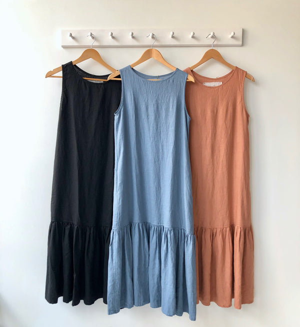 Drop Ruffle Linen Dress