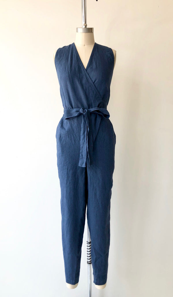 Atlantic Blue Linen Wrap Jumpsuit | Sleeveless