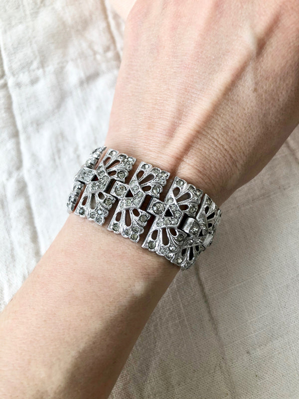 Art Deco Sterling and Rhinestone Bracelet