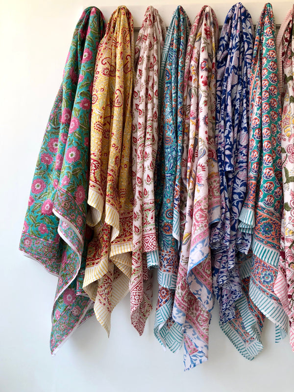 Oversized Indian Cotton Block Print Scarf - Brights Collection II