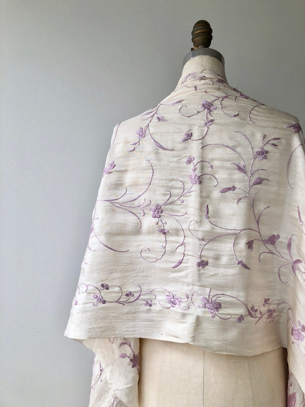 Antique Silk Embroidered Piano Shawl