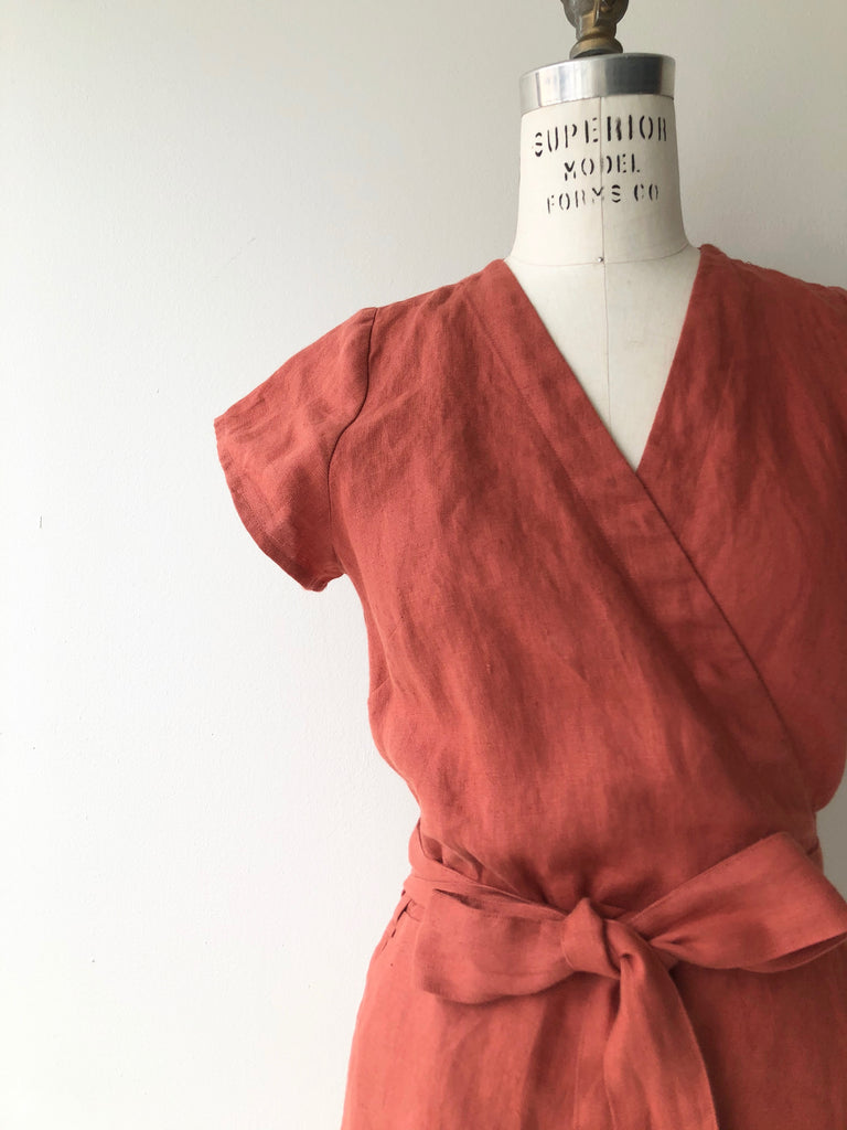 Moroccan Red linen wrap dress