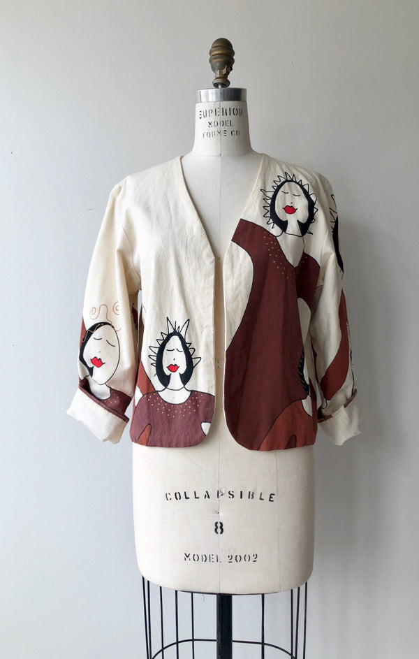 Hand-Painted Cropped Jacket