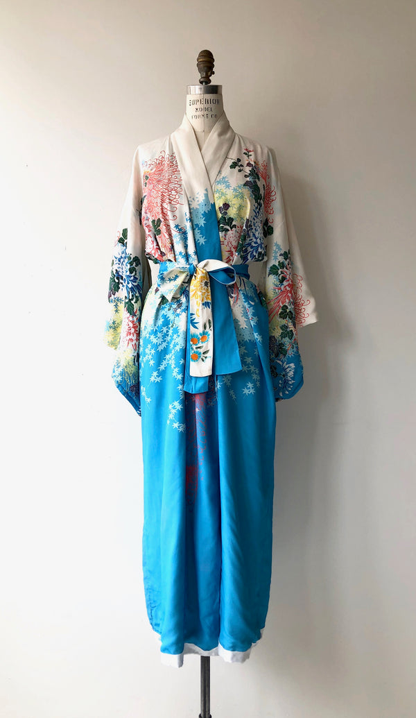 Antique 1930s Japanese Maple silk kimono