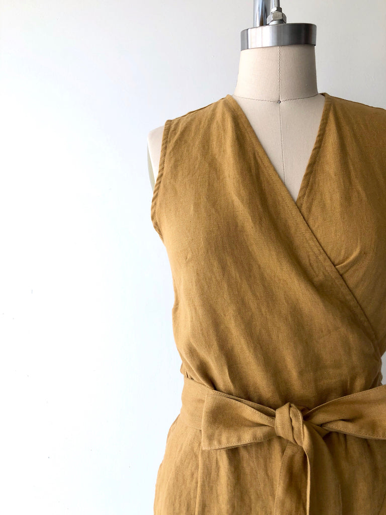 Amber Linen Wrap Jumpsuit | Sleeveless
