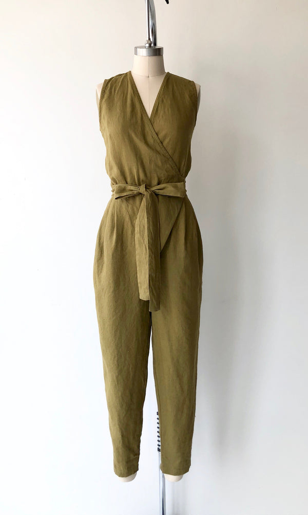Olive Linen Wrap Jumpsuit | Sleeveless