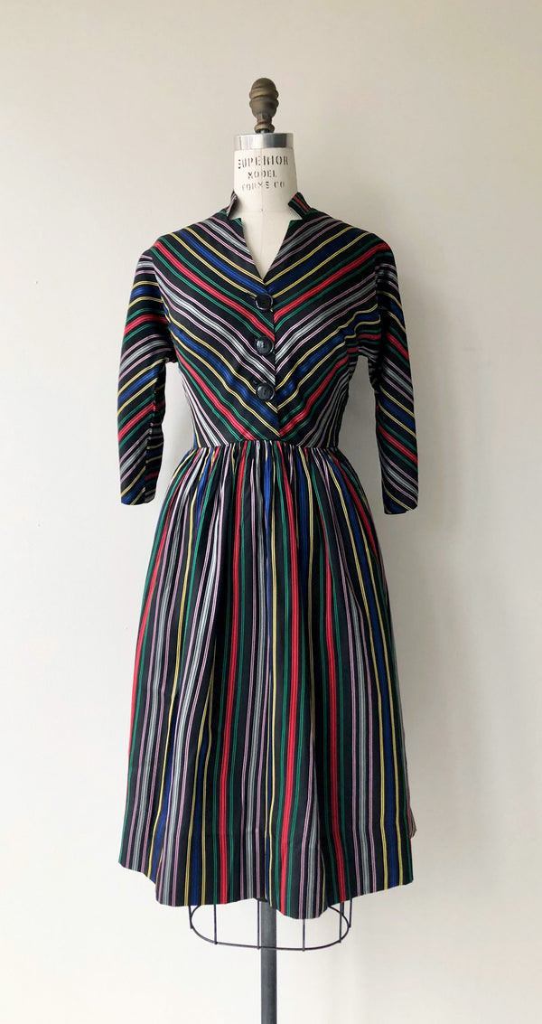 Silk Faille Stripe Dress
