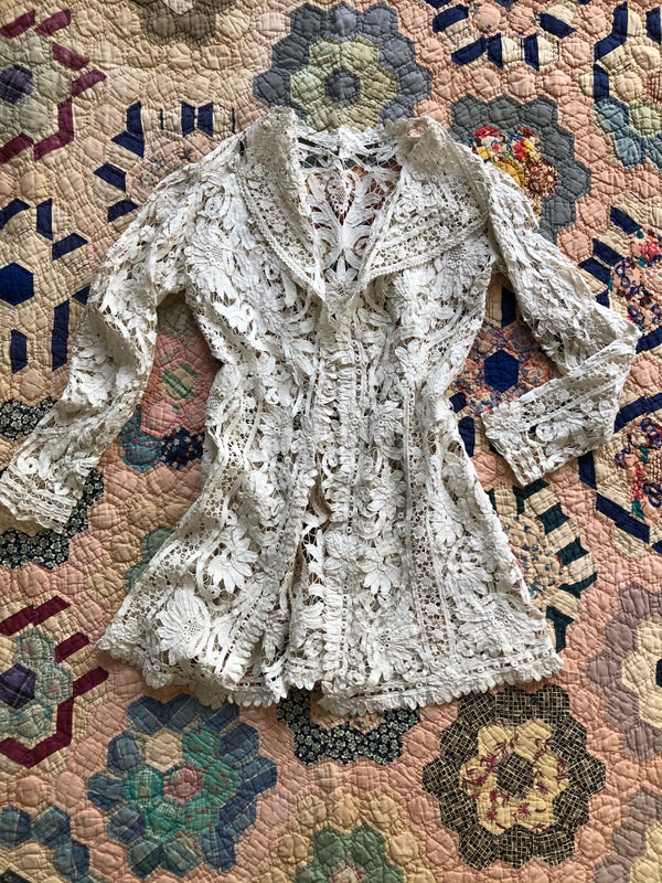 Antique 1900s Battenberg Lace Jacket