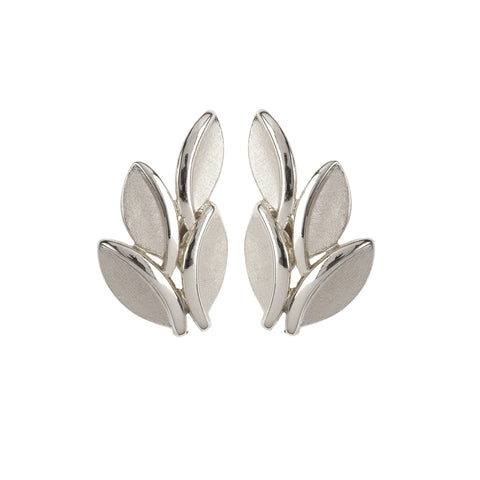 1960s Vintage Trifari Stylised Silver Leaf Earring