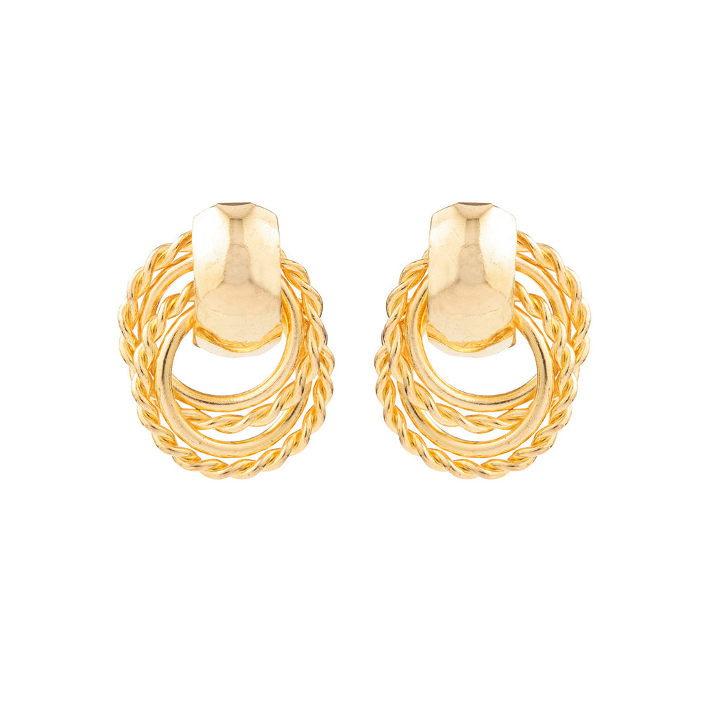 1990s Vintage Gold Plated Hoop Drop Earrings