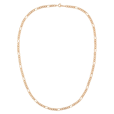 1990s Vintage Gold Plated Figaro Chain Necklace