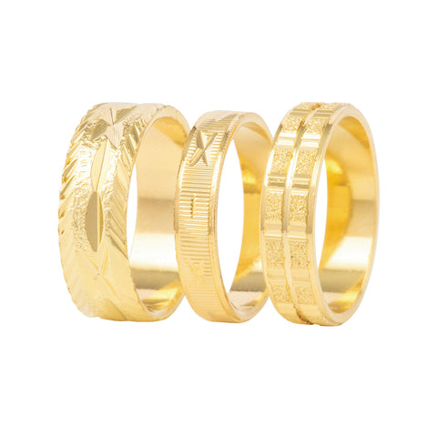 1990s Vintage Gold Ring Trio