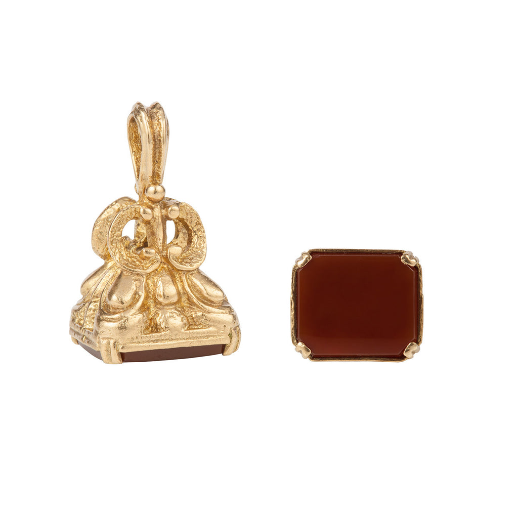 1960s Vintage 9ct Gold Fob with Carnelian Stone