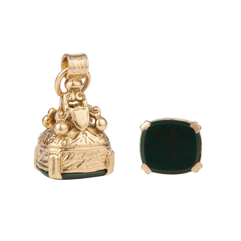 1960s Vintage 9ct Gold Fob with Bloodstone