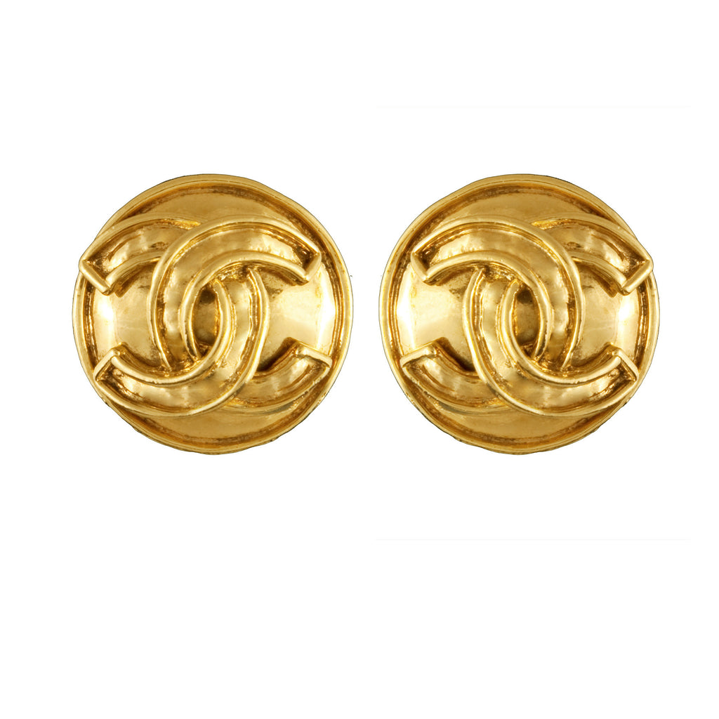 1990s Vintage Chanel Outlined Round Earrings