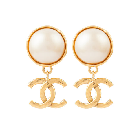 1990s Vintage Chanel Faux Pearl Earrings