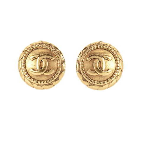 1990s Vintage Chanel Rope Round Earrings