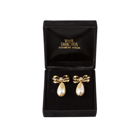 1990s Vintage Elizabeth Taylor Faux Pearl Earrings
