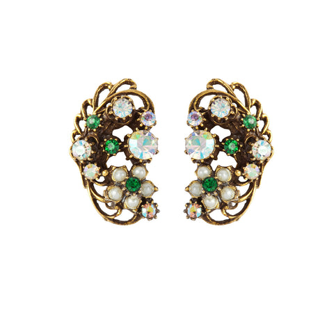 1950s Vintage Florenza Crystal Floral Earrings