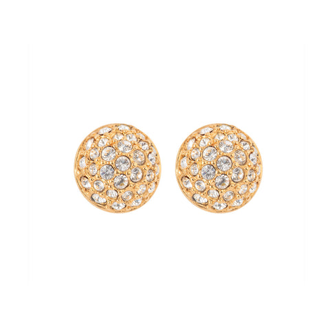 1990s Vintage Swarovski Crystal Round Earrings