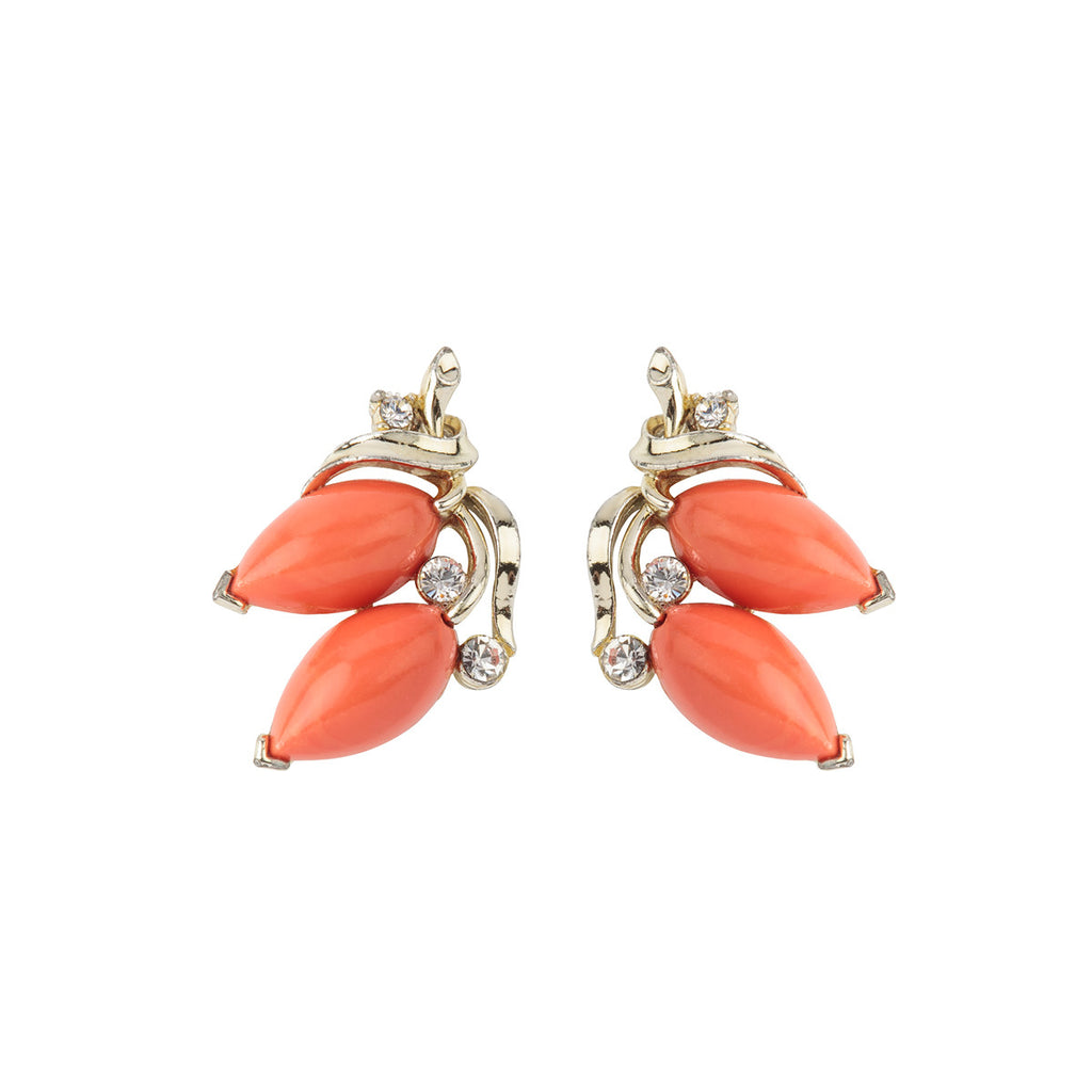 1960s Vintage Lisner Faux Coral Earrings