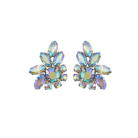 1960s Vintage Sherman Blue Crystal Earrings