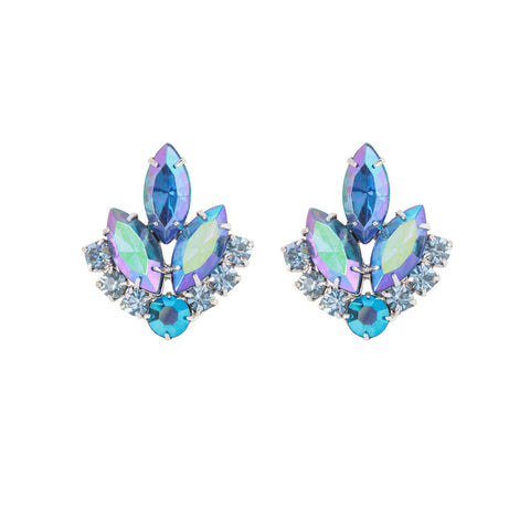 1960s Vintage Sarah Coventry Crystal Leaf Earrings