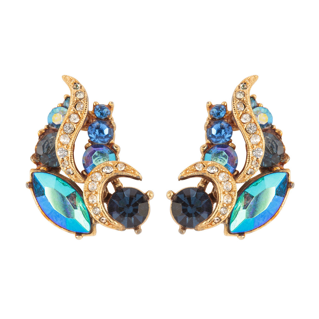 1960s Vintage Sphinx Crystal Crescent Earrings