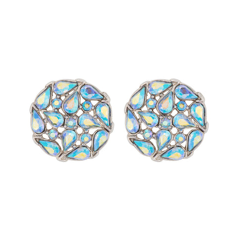 1950s Vintage Trifari Blue Crystal Mosaic Earrings