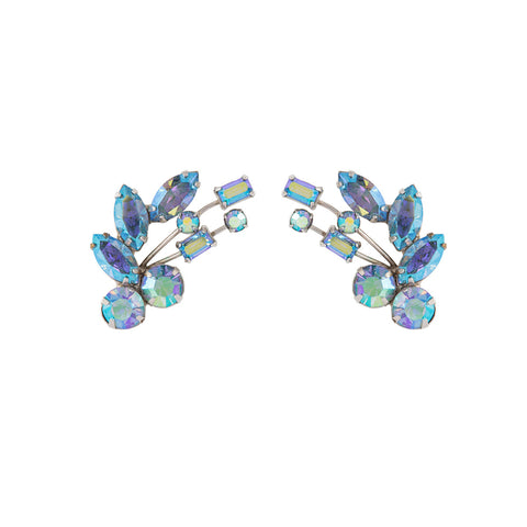 1950s Vintage Keyes Floral Crystal Earrings