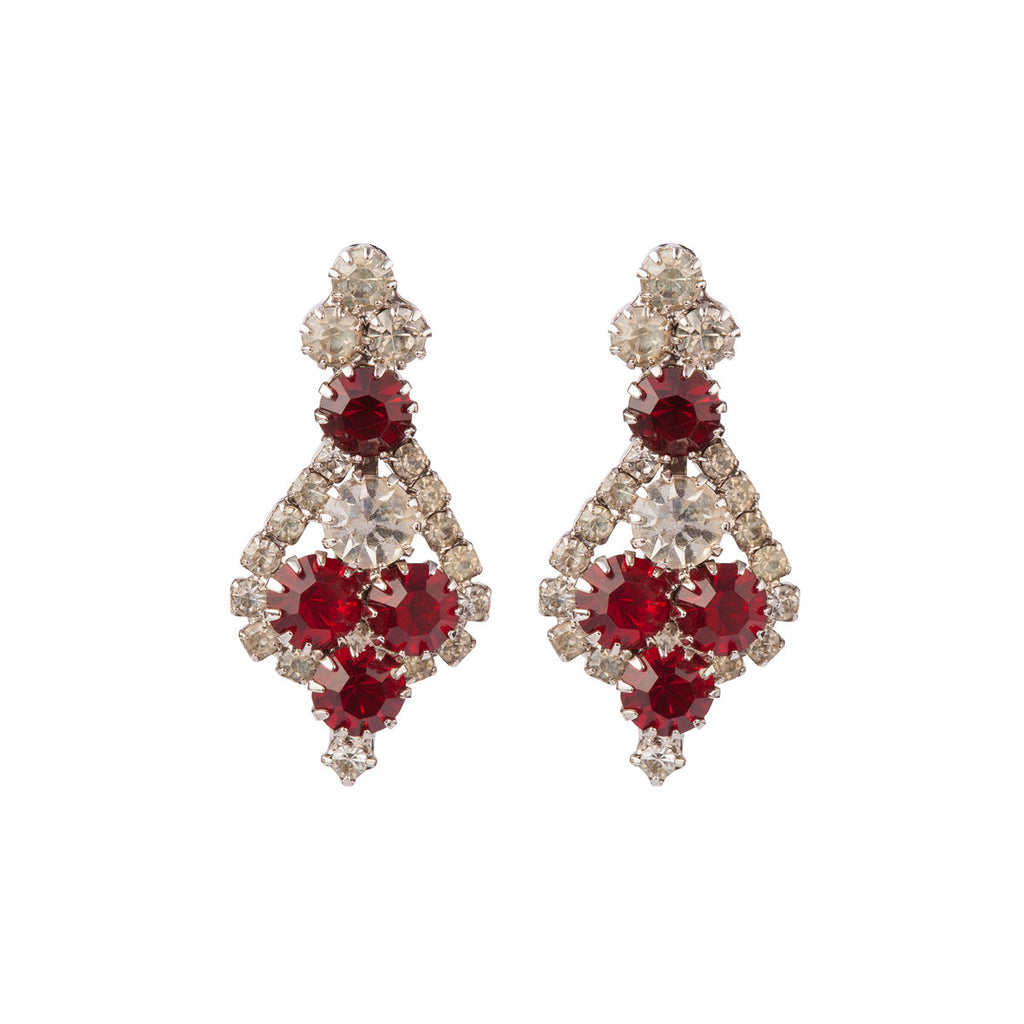 1980s Vintage Ruby Red Crystal Drop Earrings