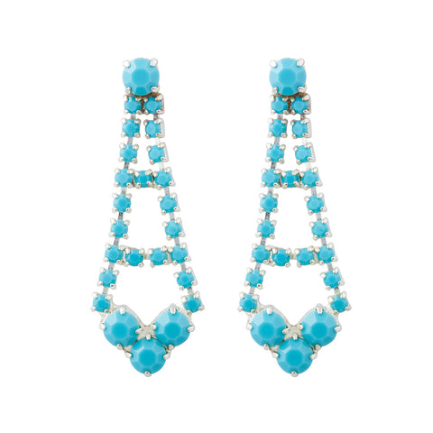 1980s Vintage Romantic Faux Turquoise Drop Earrings