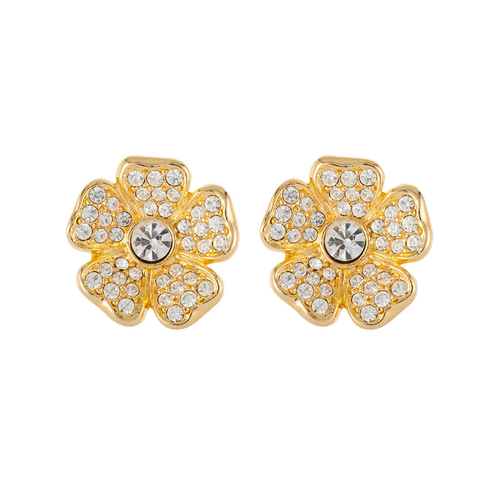 1980s Joan Rivers Crystal Flower Earrings