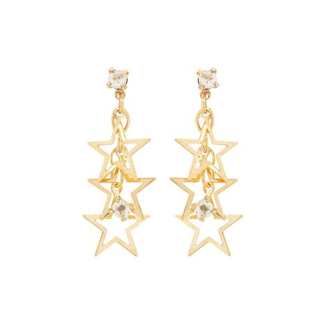 1990s Vintage Gold Plated Star Earrings