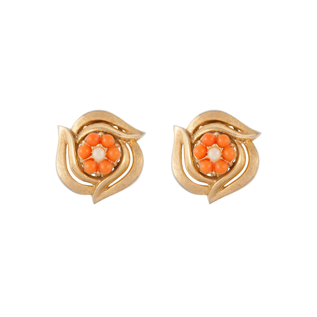 1960s Vintage Trifari Faux Coral Earrings