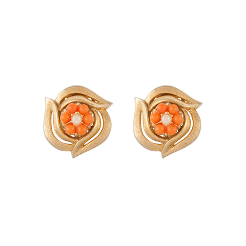 1960s Vintage Trifari Faux Coral Clip-On Earrings