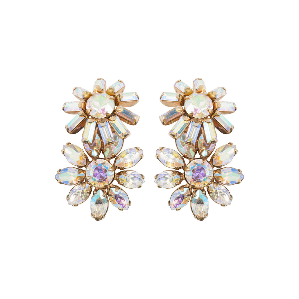 1950s Vintage Sherman Floral Crystal Earrings