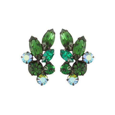 1950s Vintage Regency Green Crystal Earrings