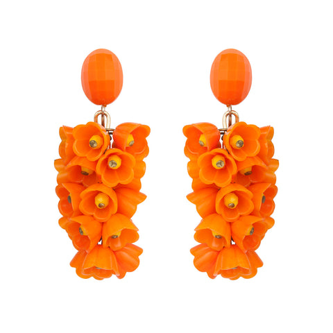 1960s Vintage Statment Orange Floral Earrings