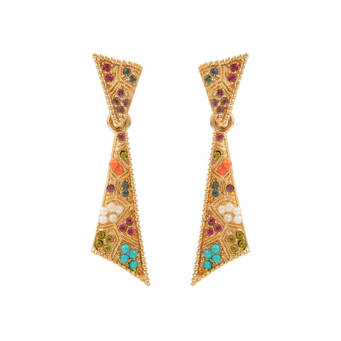 1980s Vintage D'Orlan Colourful Drop Earrings