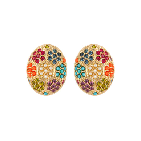 1980s Vintage D'Orlan Colourful Oval Earrings