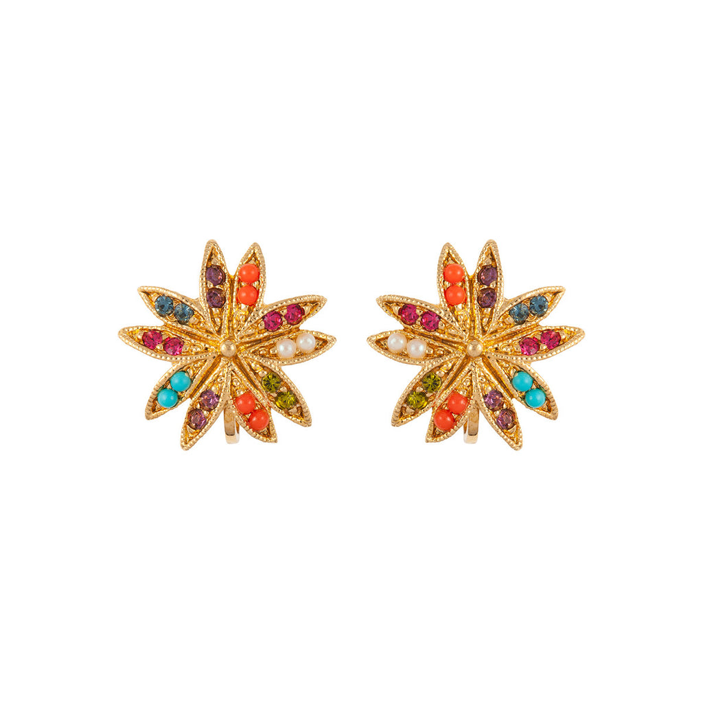 1980s Vintage D'Orlan Colourful Star Earrings