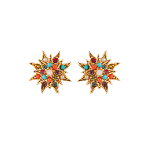 1980s Vintage D'Orlan Decorative Star Clip-On Earrings