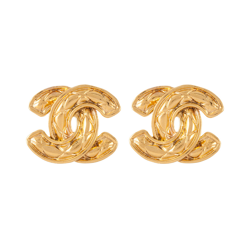 1980s Vintage Chanel Quilted Earrings