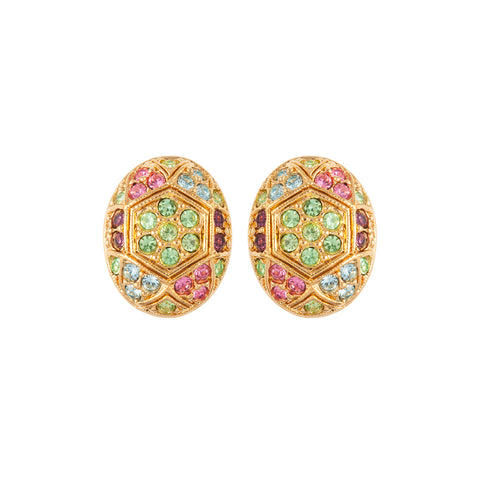 1980s Vintage D'Orlan Oval Clip-On Earrings
