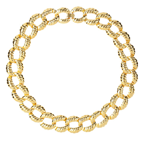 1980s Vintage Ribbed Link Necklace