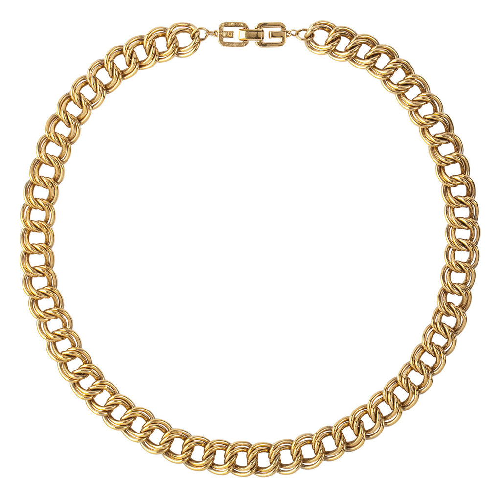 1980s Vintage Givenchy Double Chain Link Necklace